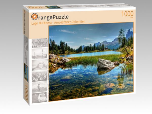 "Puzzle Motiv ""Lago di Federa - Ampezzaner Dolomiten"" - Puzzle-Schachtel zu 1000 Teile Puzzle"