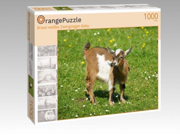 """Puzzle Motiv """"Braun weißes Zwergziegen Baby"""" - Puzzle-Schachtel zu 1000 Teile Puzzle"""