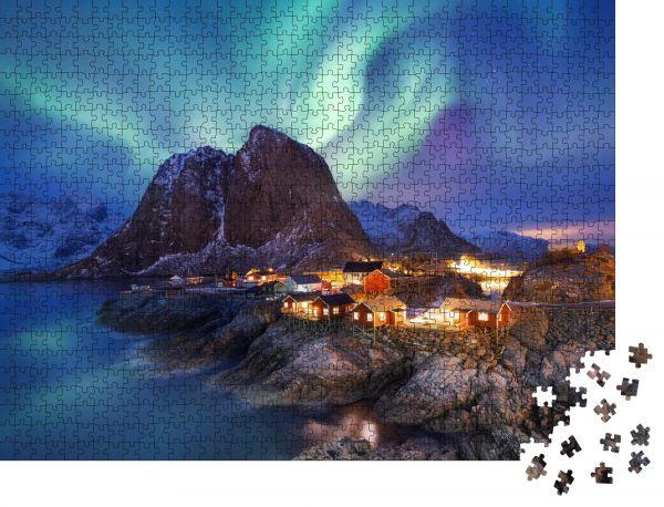 """Puzzle-Motiv """"Aurora borealis auf den Lofoten, Norwegen Grünes Nordlicht über dem Meer Nachthimmel mit Polarlicht"""" - Puzzle-Teile zu 1000 Teile Puzzle"""