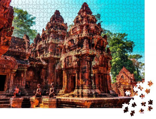 """Puzzle-Motiv """"Der rote Tempel, Siem ernten, Kambodscha"""" - Puzzle-Schachtel zu 1000 Teile Puzzle"""
