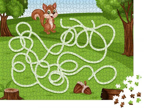 """Puzzle-Motiv """"Labyrinthspiel Hilf dem kleinen Eichhörnchen, die Nüsse reich zu machen"""" - Puzzle-Teile zu 1000 Teile Puzzle"""