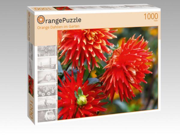 """Puzzle Motiv """"Orange Dahlien im Garten"""" - Puzzle-Schachtel zu 1000 Teile Puzzle"""