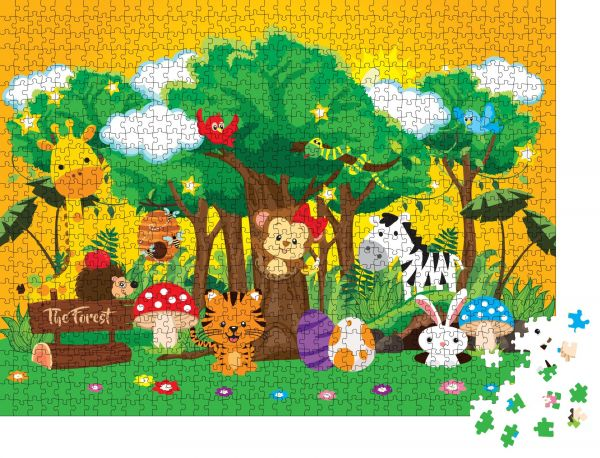"""Puzzle-Motiv """"Vektorgrafik mit süßen Waldtieren"""" - Puzzle-Teile zu 1000 Teile Puzzle"""