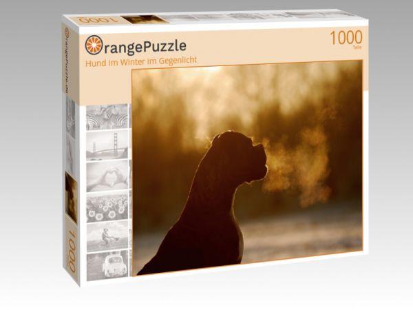 """Puzzle Motiv """"Hund im Winter im Gegenlicht"""" - Puzzle-Schachtel zu 1000 Teile Puzzle"""