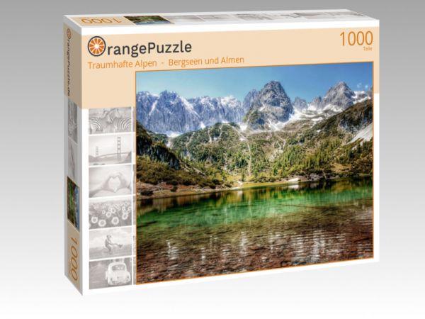 """Puzzle Motiv """"Traumhafte Alpen  -  Bergseen und Almen"""" - Puzzle-Schachtel zu 1000 Teile Puzzle"""