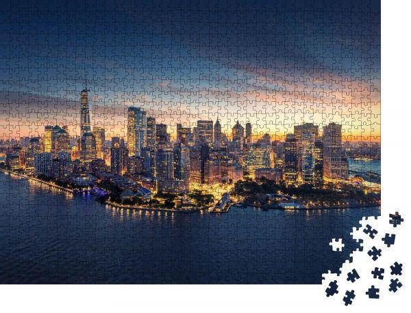 "Puzzle-Motiv ""New York City Panorama-Skyline bei Sonnenaufgang"" - Puzzle-Schachtel zu 1000 Teile Puzzle"