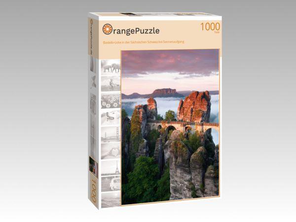 """Puzzle Motiv """"Basteibrücke in der Sächsischen Schweiz bei Sonnenaufgang"""" - Puzzle-Schachtel zu 1000 Teile Puzzle"""
