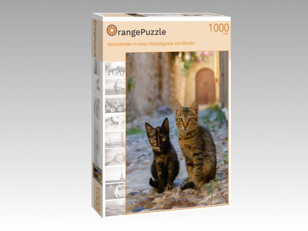"""Puzzle Motiv """"Katzenkinder in einer Altstadtgasse von Rhodos"""" - Puzzle-Schachtel zu 1000 Teile Puzzle"""
