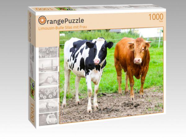 """Puzzle Motiv """"Limousin-Bulle Silas mit Frau"""" - Puzzle-Schachtel zu 1000 Teile Puzzle"""