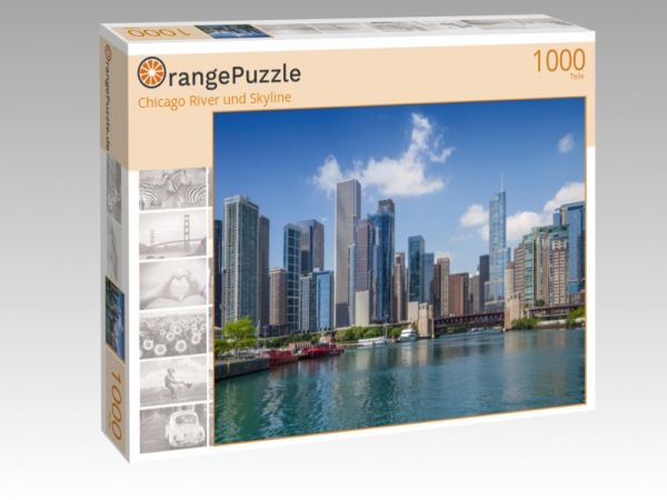 """Puzzle Motiv """"Chicago River und Skyline"""" - Puzzle-Schachtel zu 1000 Teile Puzzle"""
