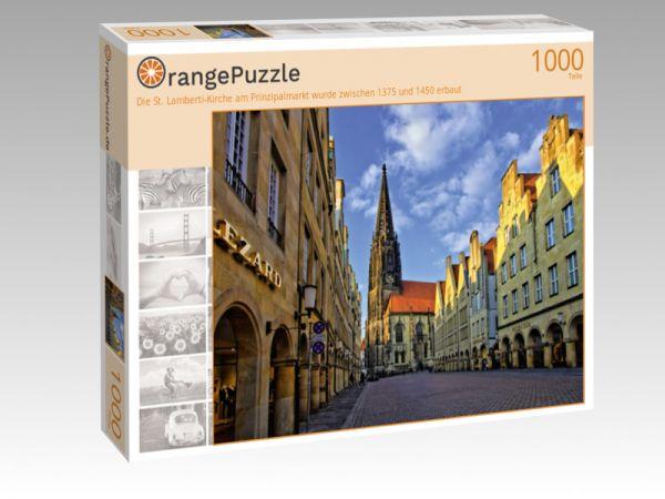 """Puzzle Motiv """"Die St. Lamberti-Kirche am Prinzipalmarkt wurde zwischen 1375 und 1450 erbaut"""" - Puzzle-Schachtel zu 1000 Teile Puzzle"""