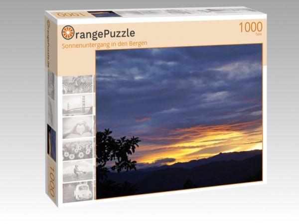 "Puzzle Motiv ""Sonnenuntergang in den Bergen"" - Puzzle-Schachtel zu 1000 Teile Puzzle"