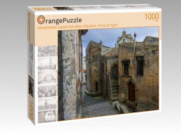 """Puzzle Motiv """"Verwinkelte Gasse mit alten Häusern, Forza d' Agrò"""" - Puzzle-Schachtel zu 1000 Teile Puzzle"""