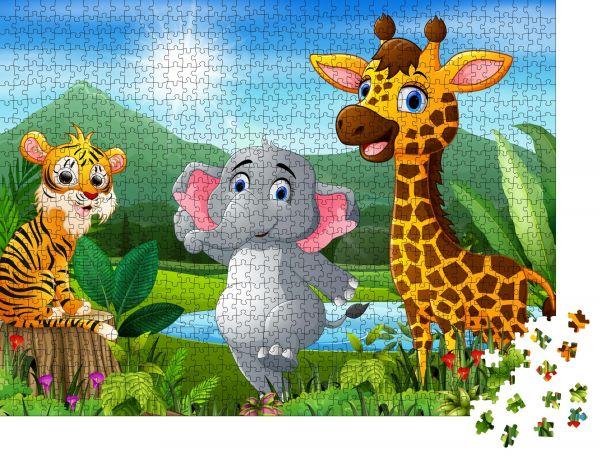 """Puzzle-Motiv """"Cartoon der schönen Landschaft mit verschiedenen Tieren"""" - Puzzle-Teile zu 1000 Teile Puzzle"""