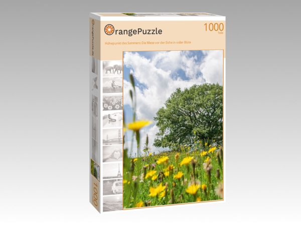 """Puzzle Motiv """"Höhepunkt des Sommers: Die Wiese vor der Eiche in voller Blüte"""" - Puzzle-Schachtel zu 1000 Teile Puzzle"""