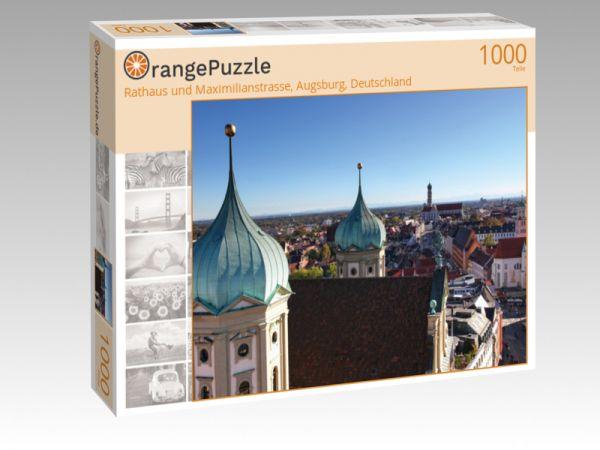 """Puzzle Motiv """"Rathaus und Maximilianstrasse, Augsburg, Deutschland"""" - Puzzle-Schachtel zu 1000 Teile Puzzle"""