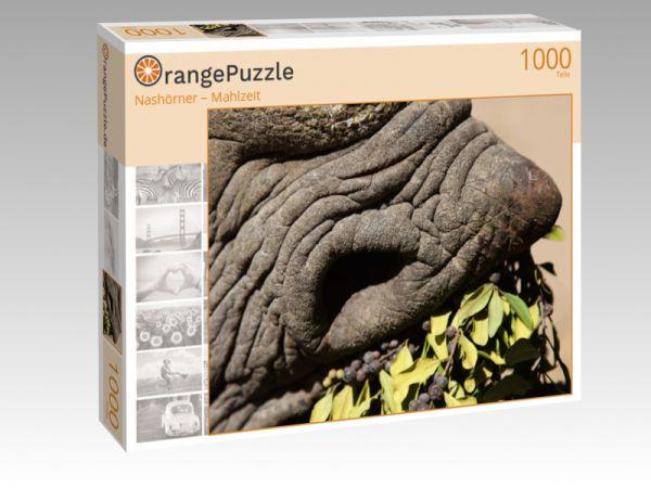"""Puzzle Motiv """"Nashörner – Mahlzeit"""" - Puzzle-Schachtel zu 1000 Teile Puzzle"""