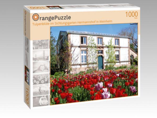 """Puzzle Motiv """"Tulpenblüte im Sichtungsgarten Hermannshof in Weinheim"""" - Puzzle-Schachtel zu 1000 Teile Puzzle"""