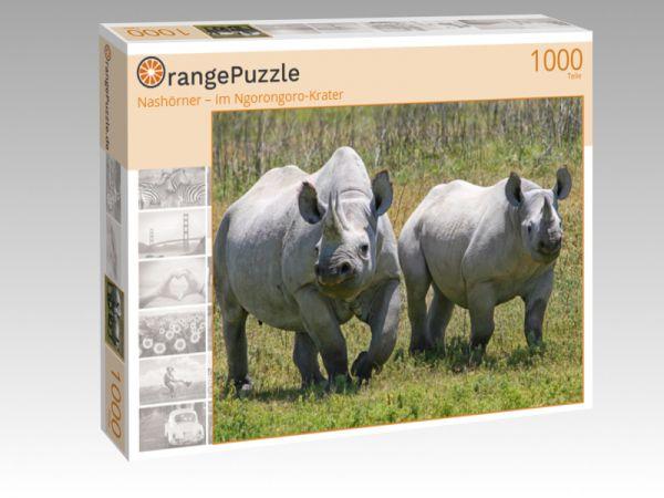 "Puzzle Motiv ""Nashörner – im Ngorongoro-Krater"" - Puzzle-Schachtel zu 1000 Teile Puzzle"