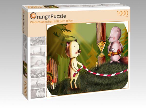 """Puzzle Motiv """"Wildschweinchen hilft dem Biber"""" - Puzzle-Schachtel zu 1000 Teile Puzzle"""