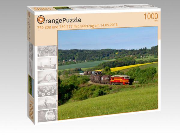 """Puzzle Motiv """"750 308 und 750 277 mit Güterzug am 14.05.2016"""" - Puzzle-Schachtel zu 1000 Teile Puzzle"""