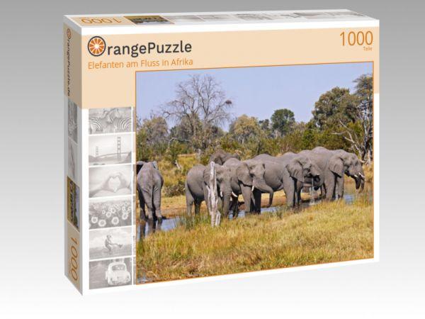"""Puzzle Motiv """"Elefanten am Fluss in Afrika"""" - Puzzle-Schachtel zu 1000 Teile Puzzle"""