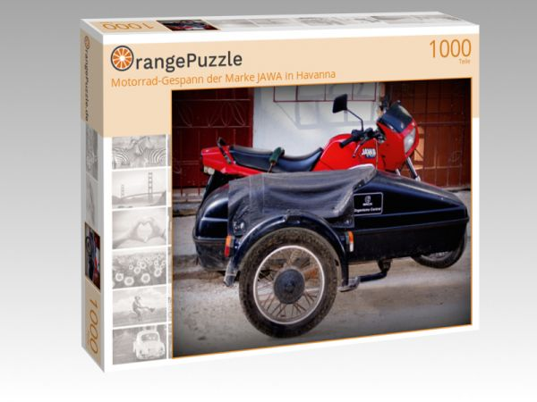 """Puzzle Motiv """"Motorrad-Gespann der Marke JAWA in Havanna"""" - Puzzle-Schachtel zu 1000 Teile Puzzle"""
