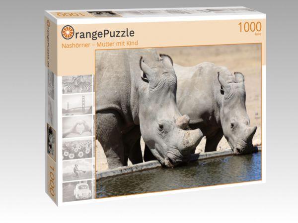 """Puzzle Motiv """"Nashörner – Mutter mit Kind"""" - Puzzle-Schachtel zu 1000 Teile Puzzle"""