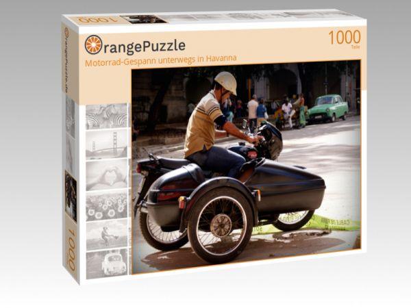"""Puzzle Motiv """"Motorrad-Gespann unterwegs in Havanna"""" - Puzzle-Schachtel zu 1000 Teile Puzzle"""