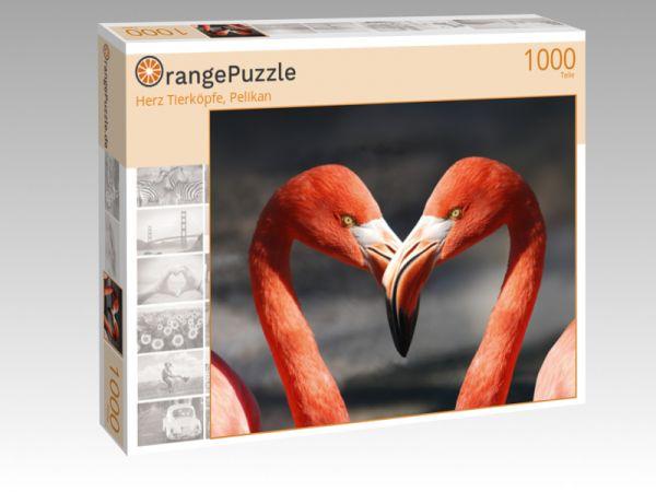 "Puzzle Motiv ""Herz Tierköpfe, Pelikan"" - Puzzle-Schachtel zu 1000 Teile Puzzle"