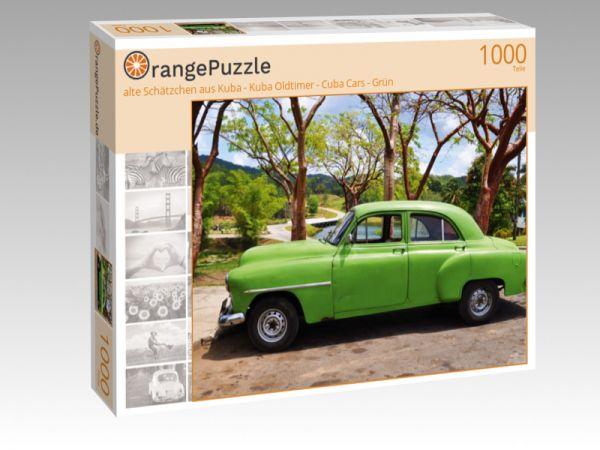 """Puzzle Motiv """"alte Schätzchen aus Kuba - Kuba Oldtimer - Cuba Cars - Grün"""" - Puzzle-Schachtel zu 1000 Teile Puzzle"""