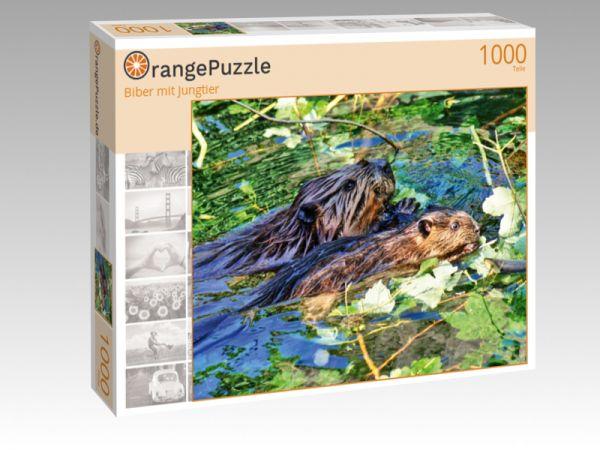"""Puzzle Motiv """"Biber mit Jungtier"""" - Puzzle-Schachtel zu 1000 Teile Puzzle"""