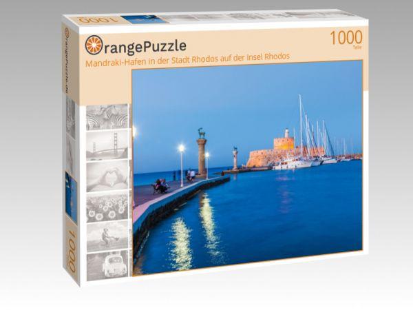 """Puzzle Motiv """"Mandraki-Hafen in der Stadt Rhodos auf der Insel Rhodos"""" - Puzzle-Schachtel zu 1000 Teile Puzzle"""