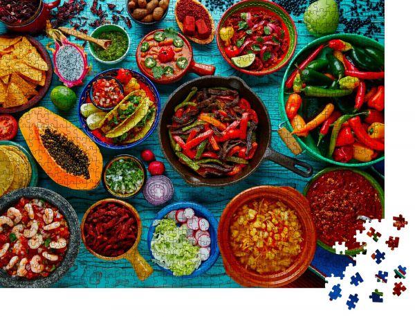 """Puzzle-Motiv """"Mexikanisches Essen Mischung bunter Hintergrund Mexiko"""" - Puzzle-Schachtel zu 1000 Teile Puzzle"""