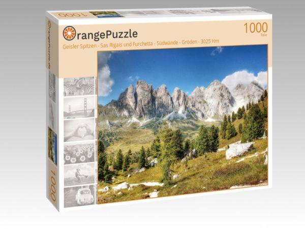 """Puzzle Motiv """"Geisler Spitzen - Sas Rigais und Furchetta - Südwände - Gröden - 3025 Hm"""" - Puzzle-Schachtel zu 1000 Teile Puzzle"""