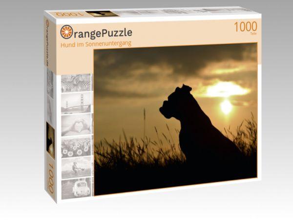 """Puzzle Motiv """"Hund im Sonnenuntergang"""" - Puzzle-Schachtel zu 1000 Teile Puzzle"""