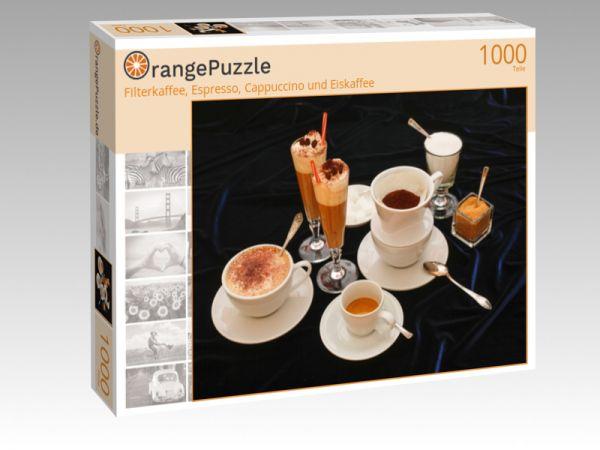 """Puzzle Motiv """"Filterkaffee, Espresso, Cappuccino und Eiskaffee"""" - Puzzle-Schachtel zu 1000 Teile Puzzle"""