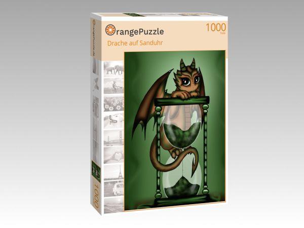 """Puzzle Motiv """"Drache auf Sanduhr"""" - Puzzle-Schachtel zu 1000 Teile Puzzle"""