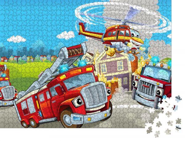 """Puzzle-Motiv """"Cartoonbühne mit verschiedenen Maschinen für die Brandbekämpfung bunte und fröhliche Szene"""" - Puzzle-Teile zu 1000 Teile Puzzle"""