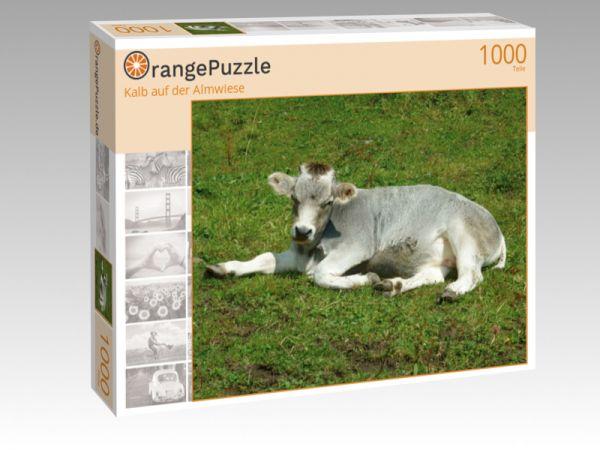 """Puzzle Motiv """"Kalb auf der Almwiese"""" - Puzzle-Schachtel zu 1000 Teile Puzzle"""