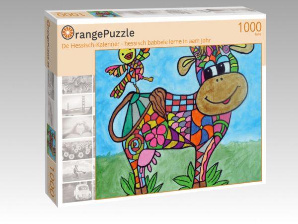 """Puzzle Motiv """"De Hessisch-Kalenner - hessisch babbele lerne in aam Johr"""" - Puzzle-Schachtel zu 1000 Teile Puzzle"""