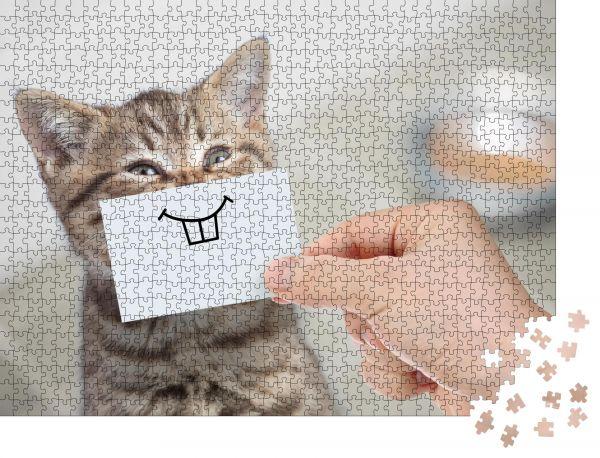 """Puzzle-Motiv """"lustige Katze mit Lächeln auf Karton sitzend in der Nähe von Lebensmitteln"""" - Puzzle-Teile zu 1000 Teile Puzzle"""