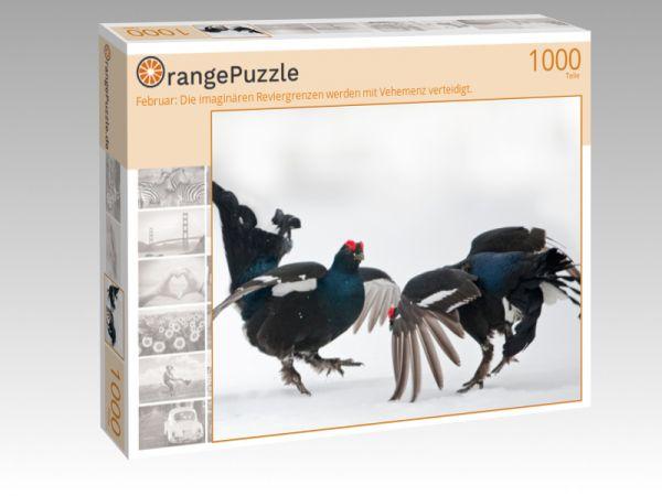 """Puzzle Motiv """"Februar: Die imaginären Reviergrenzen werden mit Vehemenz verteidigt."""" - Puzzle-Schachtel zu 1000 Teile Puzzle"""