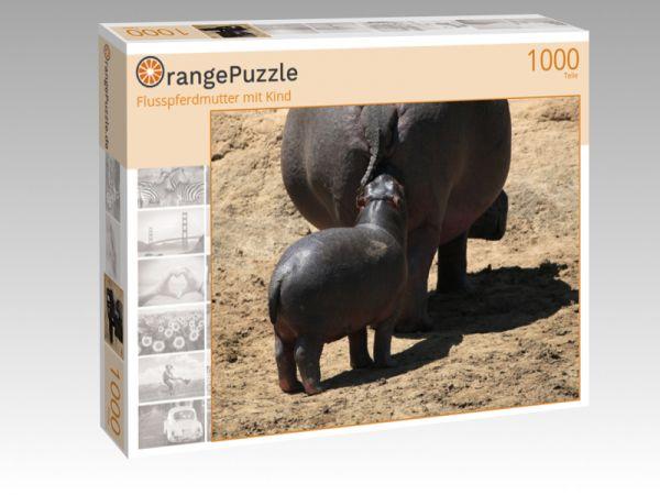 """Puzzle Motiv """"Flusspferdmutter mit Kind"""" - Puzzle-Schachtel zu 1000 Teile Puzzle"""