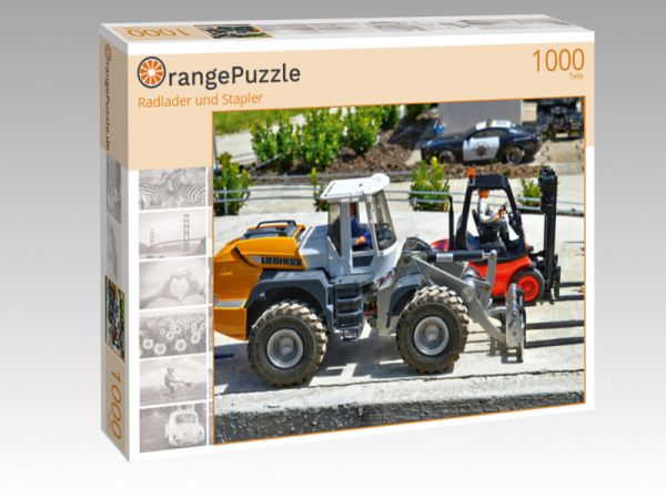 """Puzzle Motiv """"Radlader und Stapler"""" - Puzzle-Schachtel zu 1000 Teile Puzzle"""