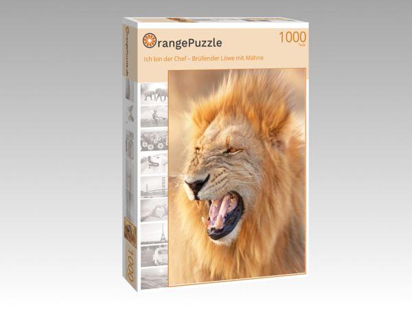 """Puzzle Motiv """"Ich bin der Chef – Brüllender Löwe mit Mähne"""" - Puzzle-Schachtel zu 1000 Teile Puzzle"""