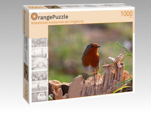 """Puzzle Motiv """"Rotkehlchen beobachtet die Umgebung"""" - Puzzle-Schachtel zu 1000 Teile Puzzle"""