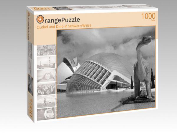 """Puzzle Motiv """"Ciudad und Dino in Schwarz/Weiss"""" - Puzzle-Schachtel zu 1000 Teile Puzzle"""