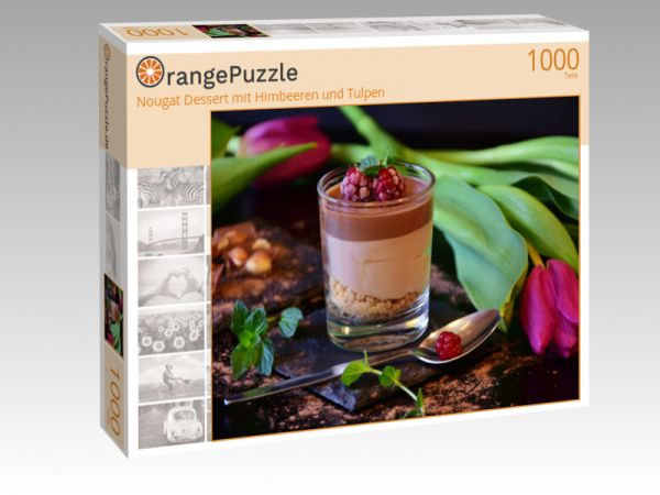 """Puzzle Motiv """"Nougat Dessert mit Himbeeren und Tulpen"""" - Puzzle-Schachtel zu 1000 Teile Puzzle"""