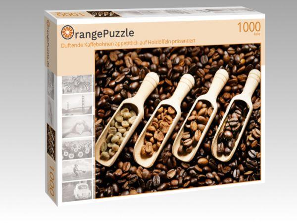 """Puzzle Motiv """"Duftende Kaffebohnen appetitlich auf Holzlöffeln präsentiert"""" - Puzzle-Schachtel zu 1000 Teile Puzzle"""